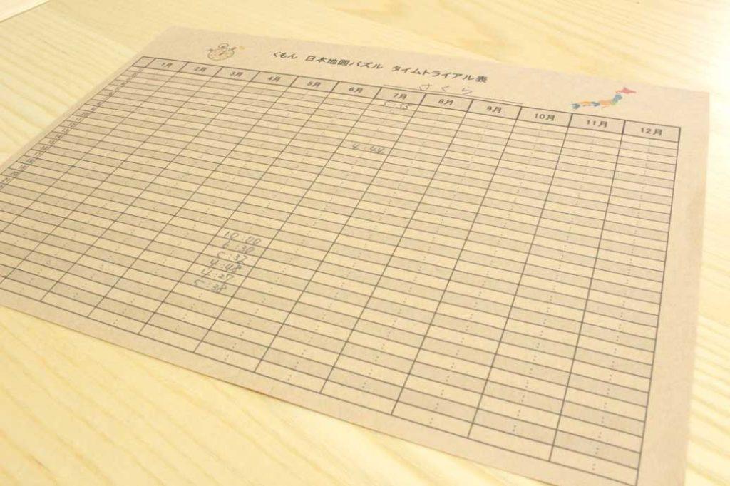 テンプレート,無料,タイムトライアル表,くもん,パズル,速さ,計る