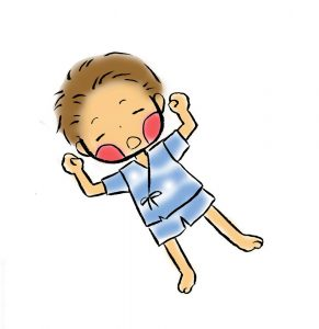 昼寝,男の子,1歳,2歳,イラスト,夏,可愛い,甚平を着た
