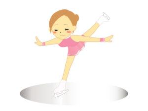スケート,女子,すべる,イラスト,スパイラル