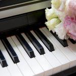 ピアノ,写真,画像,綺麗,お花,鍵盤